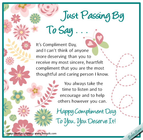 Most Thoughtful And Caring Free Compliment Day Ecards Greeting