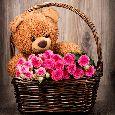 Beautiful Rose Basket With Hugs...