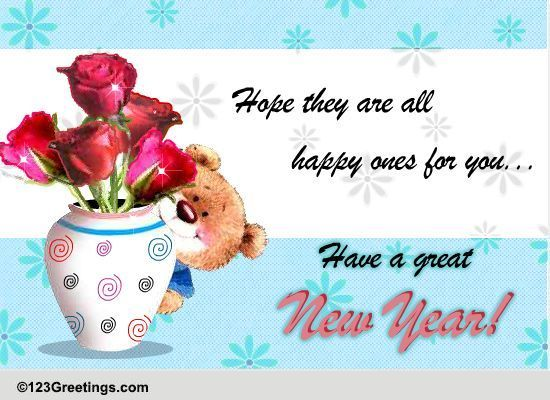 A Happy New Year Wish For Friends... Free Flowers eCards, Greeting ...