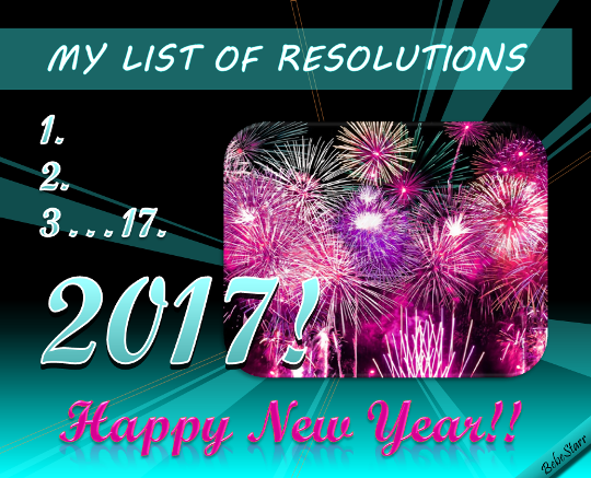 My List Of Resolutions.