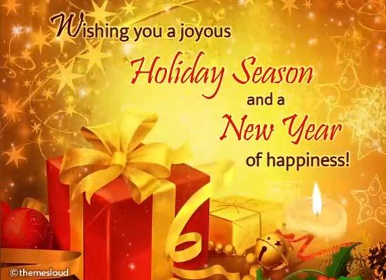 joyous holidays  happy new year card free warm wishes