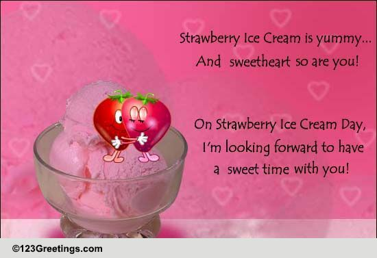Send Strawberry Ice-cream Day Wishes!