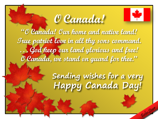 O Canada! We Stand On Guard For Thee.