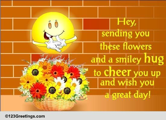 smiley hug to cheer you free cheer up day ecards greeting cards