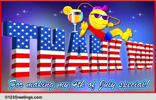 thanks for a special july 4th  free thank you ecards