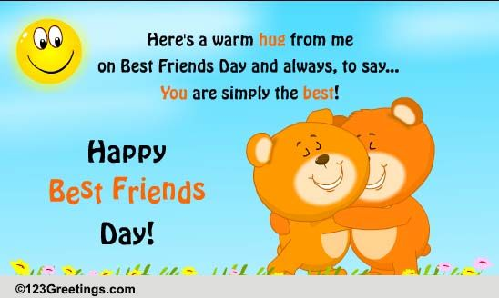 Hugs For A Friend Who's The Best! Free Hugs eCards, Greeting Cards   123 Greetings