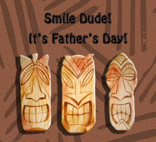 Father's Day Funny Tiki Heads Smile.