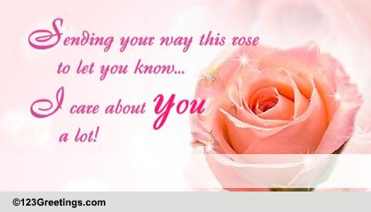 i care a lot about you  free rose month ecards  greeting
