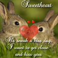 Cute Rabbit & Sneak A Kiss Day Wishes.