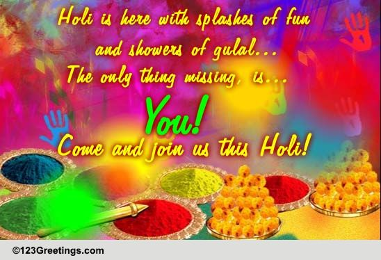 Colorful Holi Invite. Free Invitations eCards, Greeting Cards | 123 Greetings
