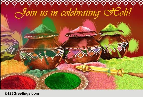A Colorful Holi Invitation. Free Invitations eCards, Greeting Cards | 123 Greetings