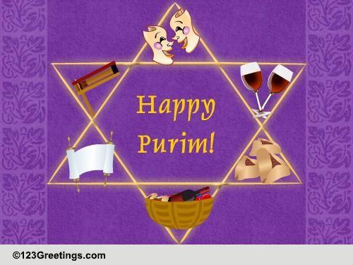 Yummy, Fun-filled And Joyous Purim... Free Purim eCards, Greeting Cards | 123 Greetings