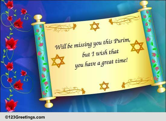 missing you this purim free purim ecards, greeting cards, Greeting card