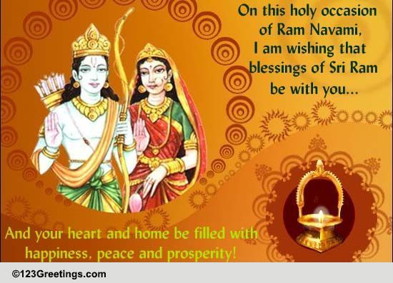 Calendar Ramnavmi : Happiness peace and prosperity free ram navami ecards