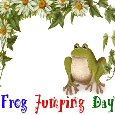 A Hop, Happy Frog Jumping Day Card.