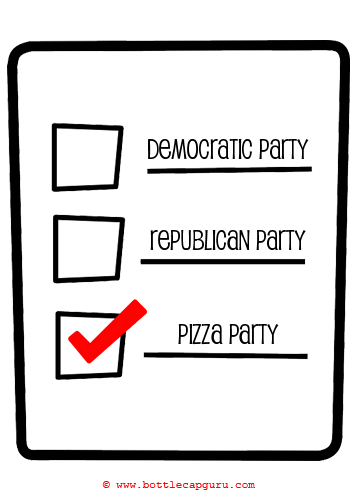 Funny Political Pizza Party Card.