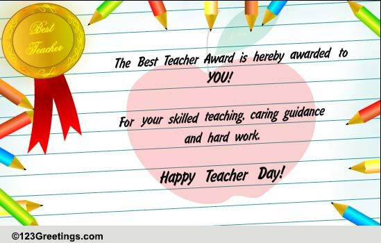 Best Teacher Award Free Teachers Day Ecards Greeting