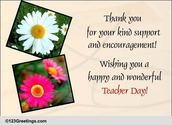 Your kind support free teachers day ecards greeting cards 123 your kind support free teachers day ecards greeting cards 123 greetings m4hsunfo