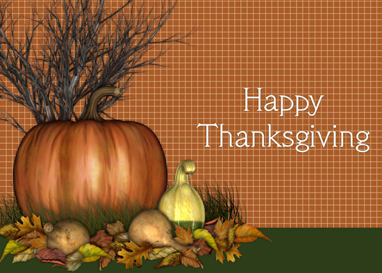 Pumpkin Image And Thanksgiving Card.