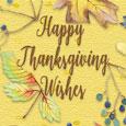 Happy Thanksgiving Wish Autumn Leaves.