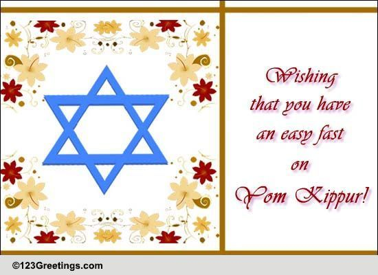 have an easy fast free yom kippur ecards greeting
