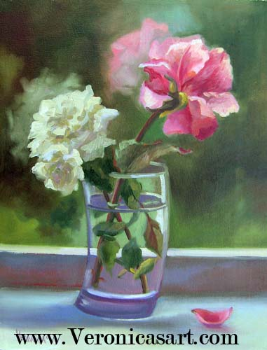 Two Roses In Vase Still Life.