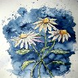 3 Daisies Flower Art Painting.