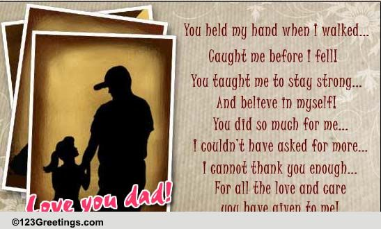 Daughter To Father Free For Your Dad ECards Greeting Cards