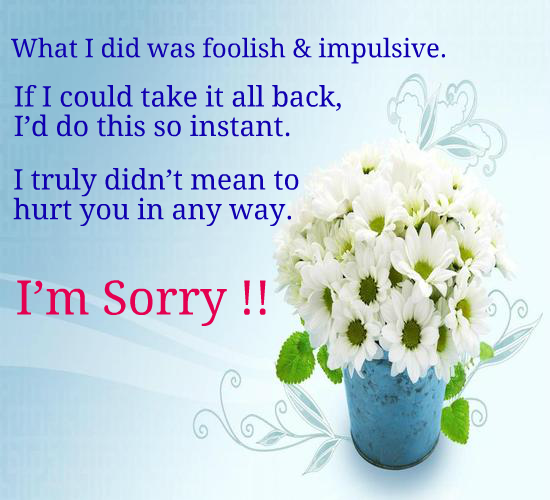 If Sorry Can Change Things For Us.