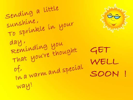 Sunny Get Well Wishes For A Dear One.