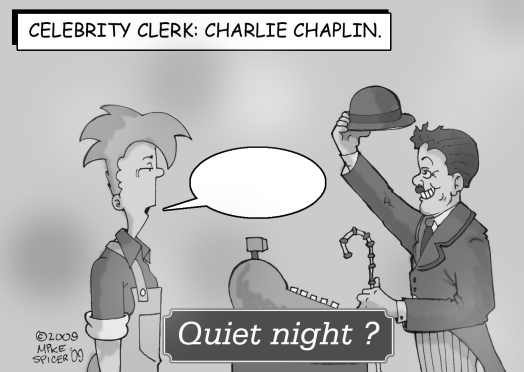 Celebrity Clerk Charlie Chaplin.
