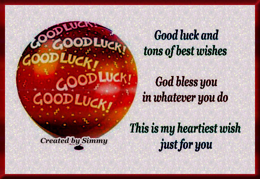 Good Luck And Best Wishes For You.