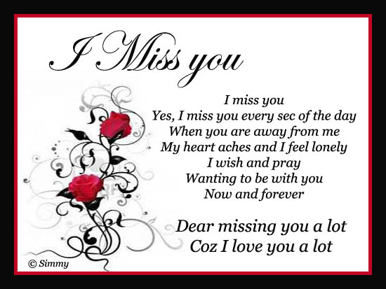 Dear I Miss You A Lot.