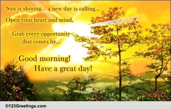 A New Day Is Calling! Free Good Morning eCards, Greeting
