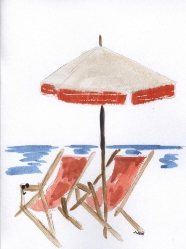 Beach Chairs In The Sun.