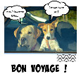 Bon Voyage Cute Dog Card.