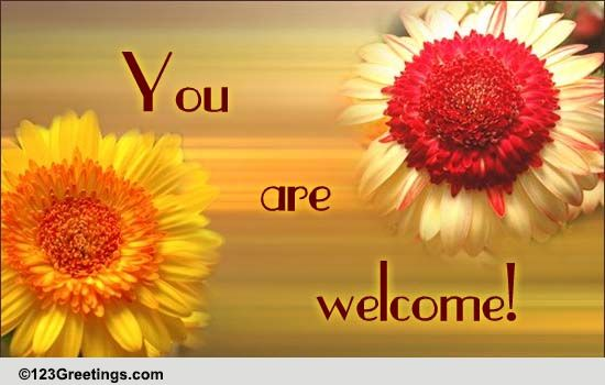 A 'You Are Welcome' Card! Free You are Welcome eCards