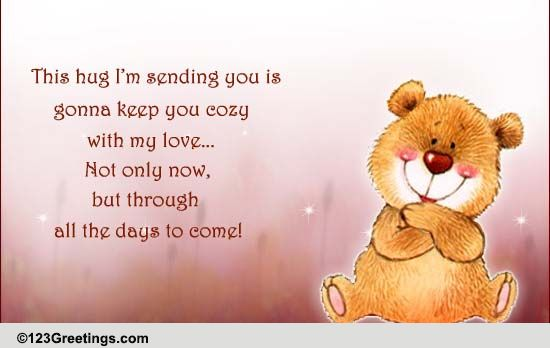 Sympathy card 'big hugs' hand lettered card / brush |Hug Messages Sympathy