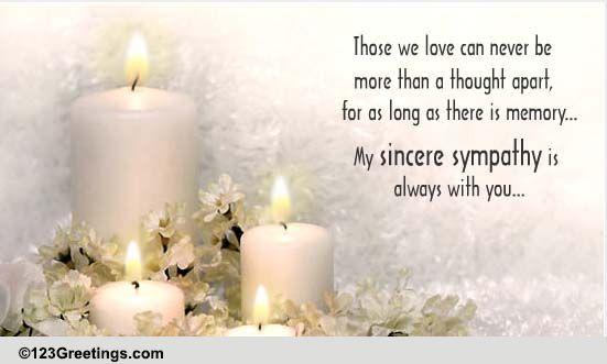 ... Sincere Sympathy. Free Sympathy & Condolences eCards | 123 Greetings