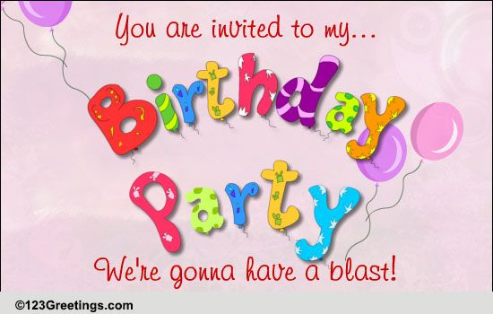 A Birthday Party Invitation Free Birthday Party Ecards
