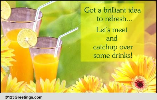 catch up and refresh over drinks  free party invitations ecards