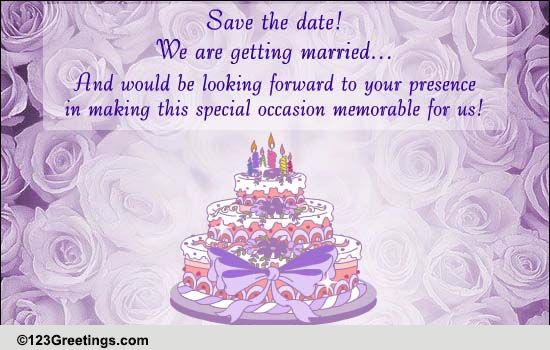 123 Wedding Invitations: Save The Date! It's A Wedding! Free Wedding ECards