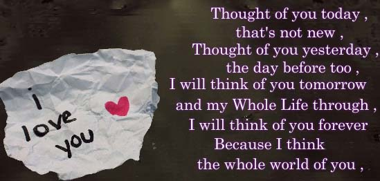 Thought Of You Today Free I Love You Ecards Greeting