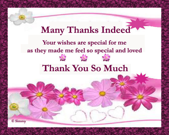 Wishes For Wedding Thank You: Special Thanks For Special Wishes. Free Birthday Thank You