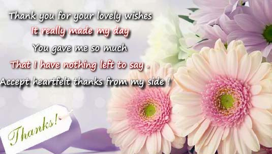 Thank You For All The Lovely Wishes Free For Everyone Ecards 123