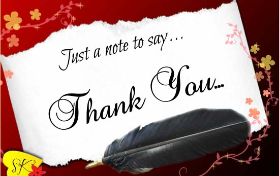just a note to say thank you free for everyone ecards