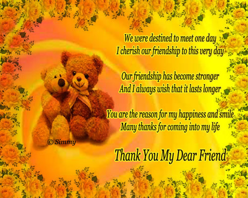 Thank You My Dear Friend. Free Friends Ecards, Greeting Cards