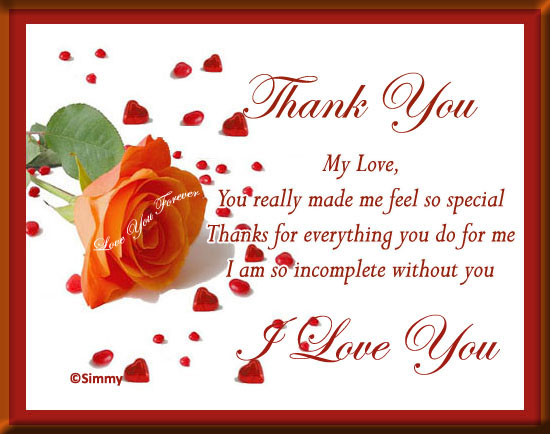 Marvelous Thank You My Love... Free For Your Love ECards, Greeting Cards 123