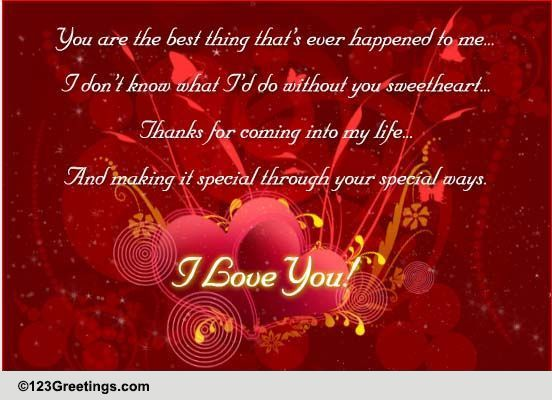 Thanks Sweetheart Free For Your Love Ecards Greeting