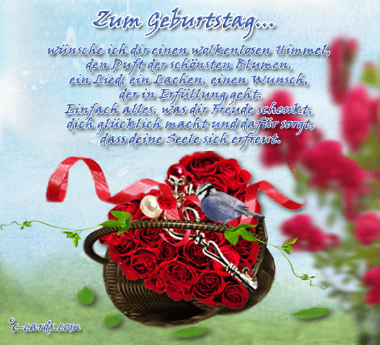 German Birthday Card And A Flower Heart With Roses
